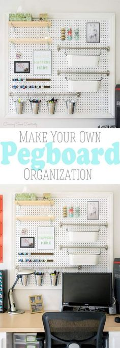 Organization and Display- Make your own giant pegboard to store office supplies, craft supplies, or cleaning supplies.Pegboard Organization and Display- Make your own giant pegboard to store office supplies, craft supplies, or cleaning supplies. Pegboard Organization, Office Supply Organization, Pegboard Display, Organization Ideas, Bedroom Organization, Organizing Office Supplies, Scrapbook Room Organization, Ikea Office Storage, Stationary Organization