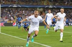 Marc Albrighton makes history by scoring Leicester's first-ever Champions League…