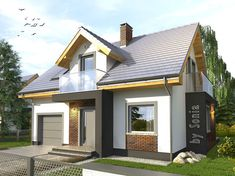 Projekt małego domu nowoczesego do 100m2 - Murano S. | Quattro Domy 100 M2, Small Modern Home, Pool Houses, Cottage Homes, Studio Apartment, Simple House, Modern House Design, Home Projects, House Plans
