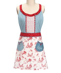 Another great find on #zulily! Blue & White Rooster Apron by Kay Dee Designs #zulilyfinds