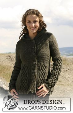 "109-3 jacket in ""Alaska"" with cables, raglan sleeves and hood ~ Drops Design - free"