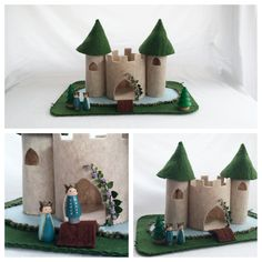 Castle Playscape Play Mat - wool felt dollhouse - fantasy storybook fairytale two turret moat peg doll Princess Prince pine tree landscape by MyBigWorld2015 on Etsy