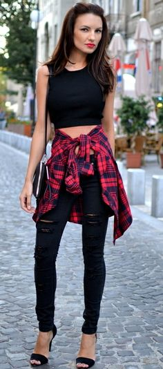 All black skinnies and top. Black shoes/ pumps with a pop of red grunge plaid