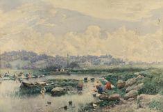 Martín Rico - Paisaje con lavanderas por un río