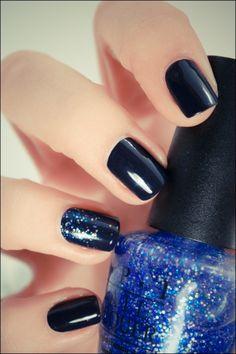 blue, glitter, gradient, last friday night, nail art