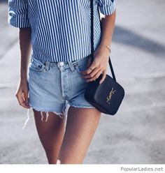 Short jeans, shirt and YSL bag
