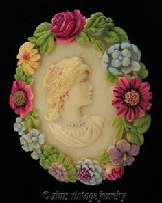 Vintage Old Deco Carved Celluloid Enamel Flower Cameo Victorian Lady Pin Brooch