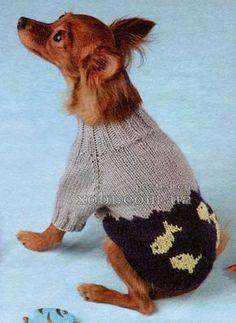 свитерок для собачки с рыбками