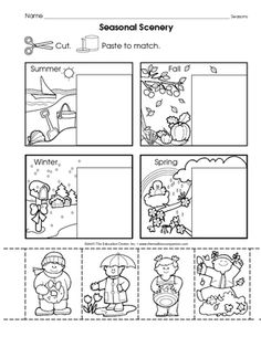 match the four seasons  homeschooling  kindergarten seasons  the mailbox worksheets