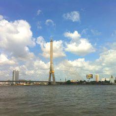 Rama VIII Bridge... View from Thewet Pier, Bangkok