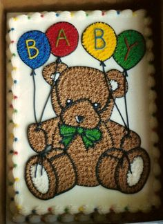 Teddy Bear Baby Shower Cake - Just a simple sheet cake with a starred teddy bear...all buttercream.