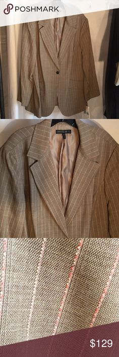 Tan peach striped longer style blazer 20NWT Tanish color with peach pin stripes in a longer style front one button jacket . Really beautiful piece for the taller woman's who like natural earth tones. NWT Lafayette 148 New York Jackets & Coats Blazers