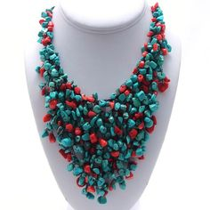 Cotton Red Coral and Turquoise Waterfall Bib Necklace (Thailand) - Overstock™ Shopping - Great Deals on Necklaces