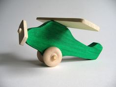 Green Wooden Airplane by Imaginationkids on Etsy, $14.00