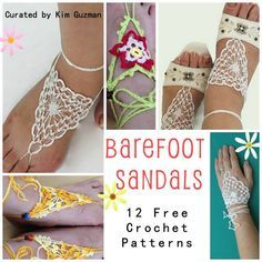 WIPs 'N Chains Link Blast 12 Free Crochet Patterns for Barefoot Sandals Crochet Motifs, Thread Crochet, Crochet Crafts, Free Crochet, Knit Crochet, Crochet Patterns, Crochet Skull, Crochet Boots, Crochet Slippers