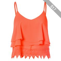 Orange Lace Cropped Cami Top