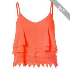 Orange Lace Cropped Cami Top