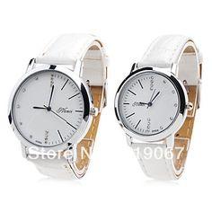 Free Shipping Pair of Unisex PU Analog Quartz Wrist Watch (White) on AliExpress.com. 10% off $11.55