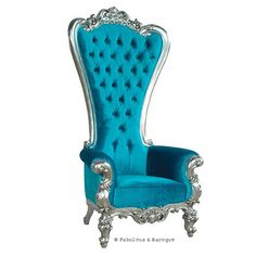 """Feast your eyes upon the decadence and true luxury of Fabulous & Baroque's ultimate piece of furniture! The Absolom Roche chair, exclusive to Fabulous & Baroque, is the first in a collection of fine furniture which sets the bar beyond imagination. Measuring 72"""" in height, the Absolom Roche commands its presence and appreciation for its true beauty. Handcrafted from mahogany and finished in silver leaf, upholstered and tufted in turquoise velvet."""