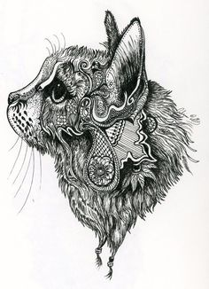 This started as a sketch of my cat and evolved into much more. I have a love for henna patterns and they made their way into this doodle.: