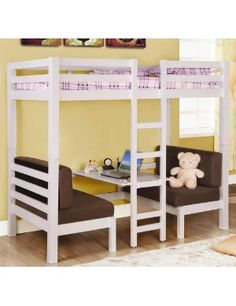 Love this configuration! Loft bed w/ seating & table. <3