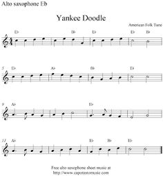 Alto Sax Easy Songs | ... Music Scores: Yankee Doodle, free alto saxophone sheet music notes