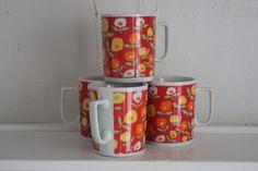 "Mod Floral Ceramic Mugs – Vintage Coffee Cups Made in Japan – ""Flurette"" Pattern Orange Mugs, Vintage Coffee Cups, Ceramic Mugs, Vintage Japanese, Ceramics, Unique Jewelry, Tableware, Handmade Gifts, Floral"