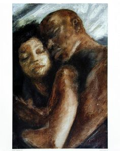Black art prints & African American Art & Gifts Andrew Nichols - open edition Good Night - Good Night Open Edition Print 23 x 30 inch Romantic art piece of loving couple cuddling. Art Black Love, Black Couple Art, Art Couple, Sexy Black Art, Black Girl Art, Black Couples, Black Art Painting, Black Artwork, African American Artwork