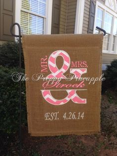 Mr & Mrs Burlap Garden Flag single sided by ThePreppyPineappleSC Burlap Garden Flags, Burlap Flag, Burlap Signs, Burlap Fabric, Burlap Bows, Burlap Wedding Decorations, Yard Decorations, Diy Mothers Day Gifts, Diy Gifts