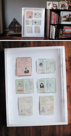 framed old passports, love this idea, ours are all in a box right now!