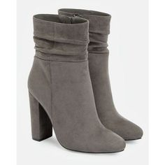 Justfab Booties Malvina ($40) ❤ liked on Polyvore featuring shoes, boots, ankle booties, grey, slouch booties, platform boots, grey ankle booties, faux suede boots and slouch boots