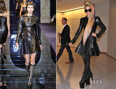 Lady Gaga in Versace Fall 2012 at the Tokyo Airport