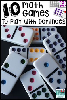 Children's Educational Games: Ten math games that students can play with dominoes to strengthen multiplication, decimal, and fraction skills. A FREE printable is included! Math Night, Math Intervention, Math Stations, Math Centers, Work Stations, Elementary Math, Upper Elementary, Math Workshop, First Grade Math