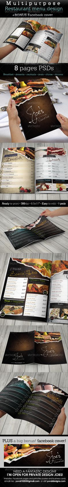 Buy Multipurpose Restaurant Menu Template by YuvalMalichi on GraphicRiver. THIS is a great creative menu for your restaurant. Food Menu Template, Restaurant Menu Template, Restaurant Menu Design, Logo Restaurant, Corporate Design, Food Menu Design, Menu Book, Menu Printing, Cocktail Desserts