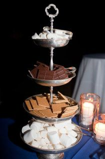 Smores! - chocolate party idea! Who said s'mores isn't elegant? Book today! email me at charming.layah@gmail.com