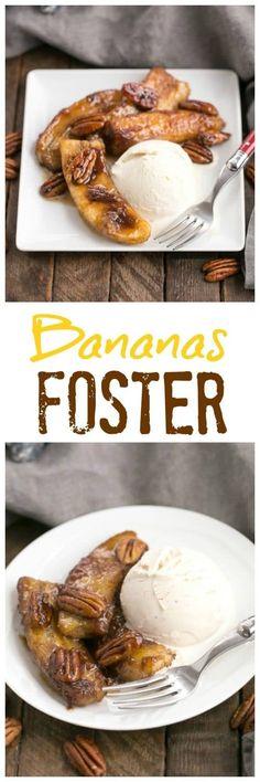 Bananas Foster - A simple, classic New Orleans dessert. Perfect for Mardi Gras! #MardiGrasdessert #bananadessert #bananasfoster