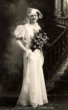 1930s Vintage Wedding Photo RPPC Card w Hat Roses | eBay
