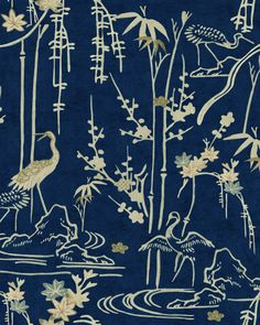 Kyoto Blue Crane Wallpaper from the Indigo Addiction Collection by MINDTHEGAP has a bamboo and bird print inspired by a Japanese fabric. Modern Wallpaper, Of Wallpaper, Designer Wallpaper, Pattern Wallpaper, Florida Wallpaper, Amazing Wallpaper, Chinoiserie Wallpaper, Luxury Wallpaper, Wallpaper Designs