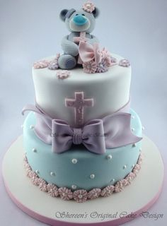 Teddy Bear Baptism Cake - without the bear maybe cross on top instead