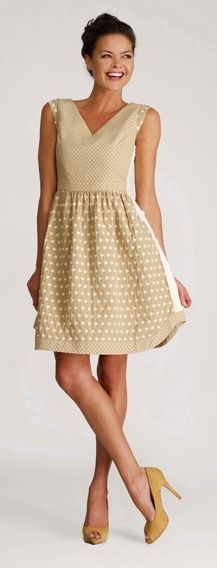 Bigio camel and white polka dot cotton summer dress. Made in USA.
