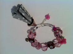 Bracelet pompon tendance rose