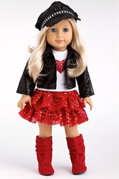 "Chic and Sassy - Black Motorcycle Faux Leather Jacket for 18"" American Girl Doll with Paperboy Hat, White T-shirt, Red Skirt & Boots (DOLL NOT INCLUDED)"