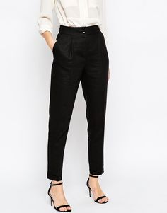 Image 4 of ASOS Highwaisted Trouser with Turn Up Detail in Linen