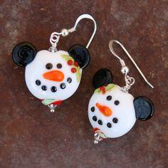 Snowman Mickey earrings.....Lampwork...Etsy
