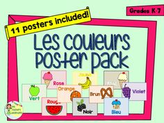 "This pack includes 11 posters to help teach colours to your beginner French students.  For each colour, I've created a simple poster with the French colour word and a clip art image of a yummy treat.  I've included posters for:-rouge-orange-jaune-vert-bleu-violet-rose-noir-blanc-brunI've also included a simple ""Les Couleurs"" title poster with a rainbow border to make it easy to create a bulletin board display.Download the preview to see all 11…"
