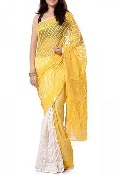 Fluorescent Yellow & White Dhakai Cotton Jamdani Saree Dhakai Jamdani Saree, Weird Fashion, Urban Chic, Her Style, Women Empowerment, Sarees, Pride, Fabrics, Collections