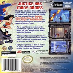 For Justice League: Injustice for All on the Game Boy Advance, a box shot for the US - release on GameFAQs. Superman, Batman, Hawkgirl, Martian Manhunter, Comic Games, Game Boy, All Games, The Flash, Justice League