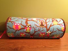14 x 6 colorful owl corduroy neck roll pillowcase by