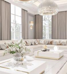 Glam Living Room, Classic Living Room, Living Room Interior, Living Room Decor, Home Room Design, Home Interior Design, Living Room Designs, Classic Interior, Plafond Design