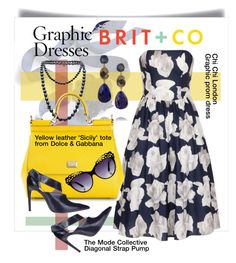 """""""How to Wear a Graphic Dress with Brit + Co"""" by esch103 ❤ liked on Polyvore featuring White House Black Market, Melissa Joy Manning, Chi Chi, BRIT*, Chanel, Dolce&Gabbana, The Mode Collective, Miss Selfridge, dolceandgabbana and contestentry"""